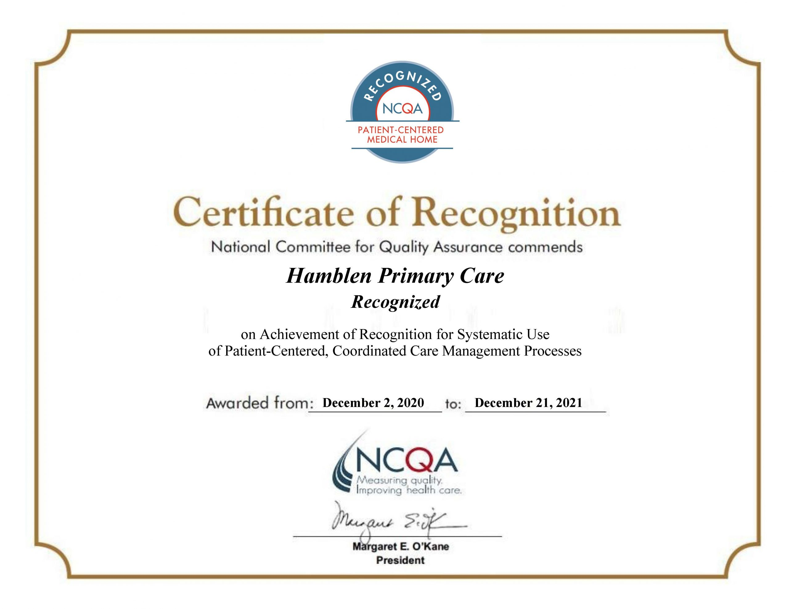 Hamblen Primary Care Recognized as PCMH